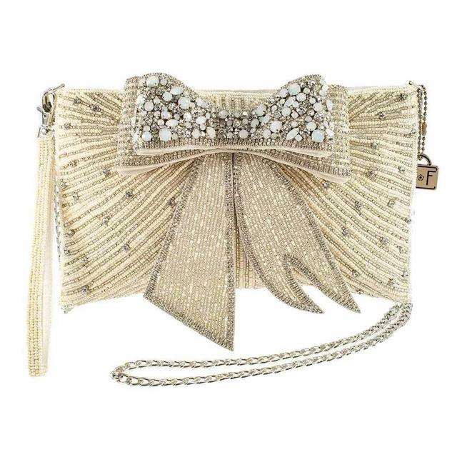 Cherish, Embellished 3-D Bow Crossbody Bridal Clutch SKU: BAG N424