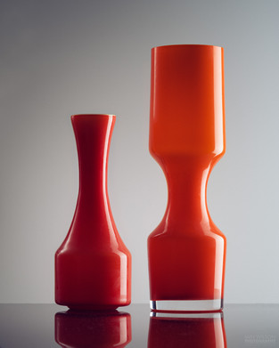 Orange glass vases