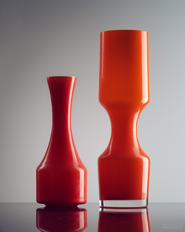 Orange glass vases