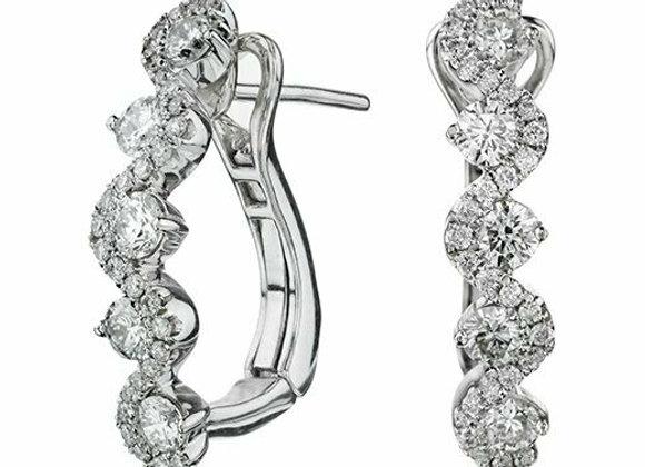 Half Hoop Round Cut Diamond Twirl Drop Earrings