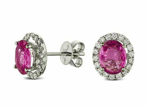 Pink Sapphire and Diamond Halo Stud Earrings