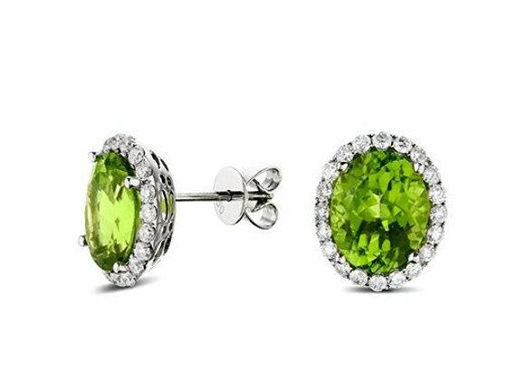 Tourmaline and Diamond Halo Stud Earrings