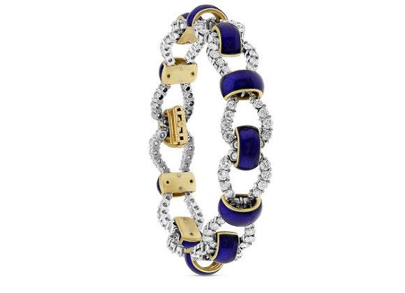 Diamond and Blue Enamel Bracelet