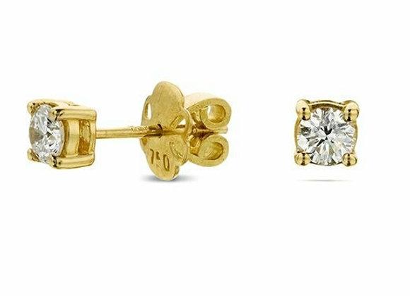 18ct Yellow Gold 4 Claw 0.66ct Diamond Studs