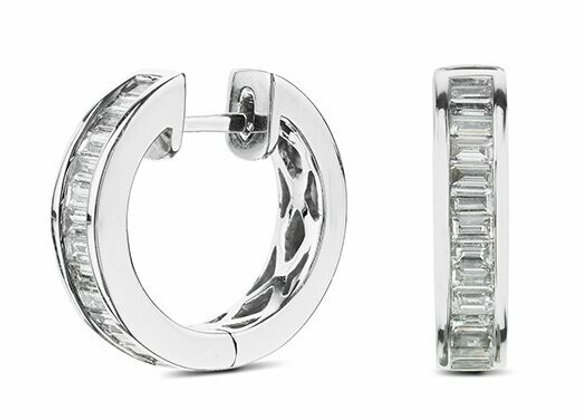 Baguette Diamond Hoops set in 18ct White Gold