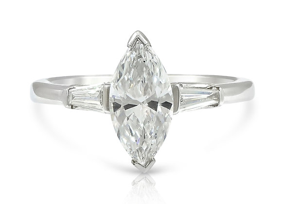 Marquise and Baguette 3 Stone Ring