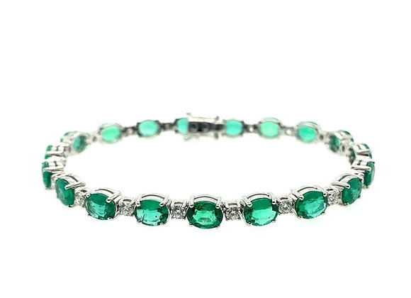 18ct White Gold, Emerald & Diamond Bracelet