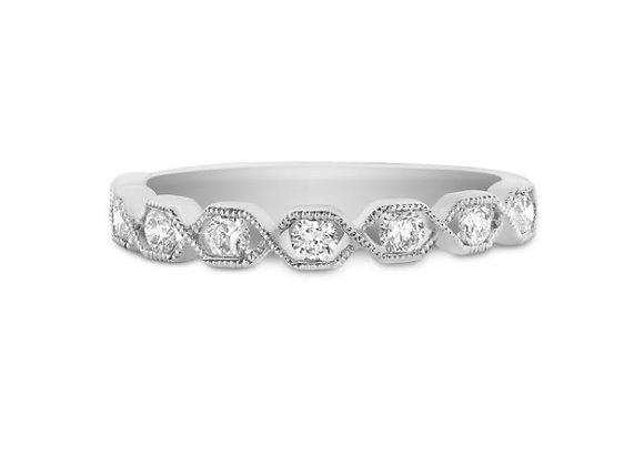 Hexagon Design Half Eternity Ring