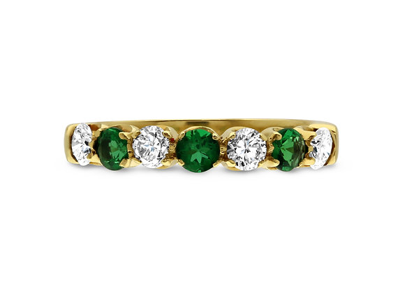 Yellow Gold Emerald and Diamond Half Eternity Ring