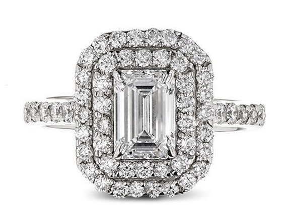 Emerald Cut Double Halo Diamond Ring