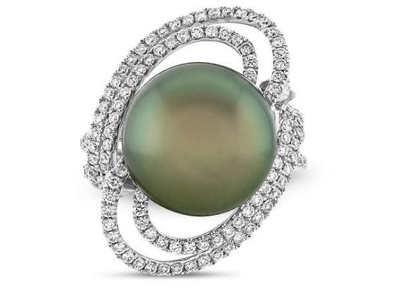 Black South Sea Pearl and Diamond Ring