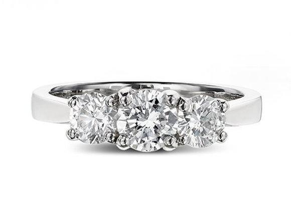 Round Cut Trilogy Diamond Ring
