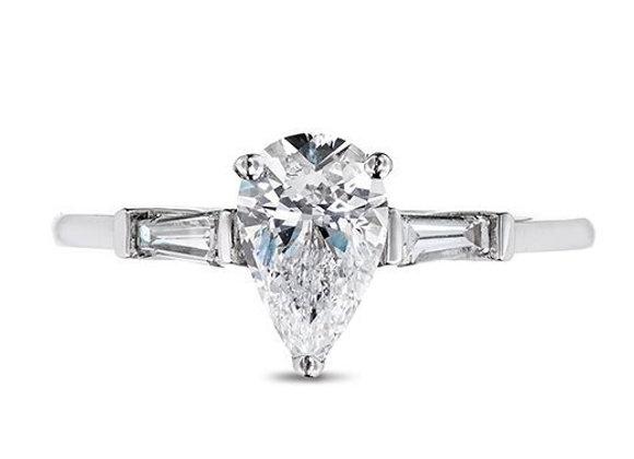 Pear Shaped 3 Stone Diamond Ring