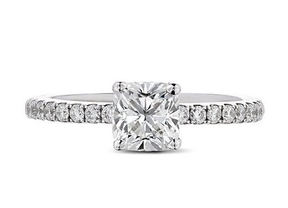 Cushion Cut Diamond Ring With Diamond Shoulders