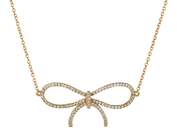 18ct Rose Gold Diamond Bow Necklace