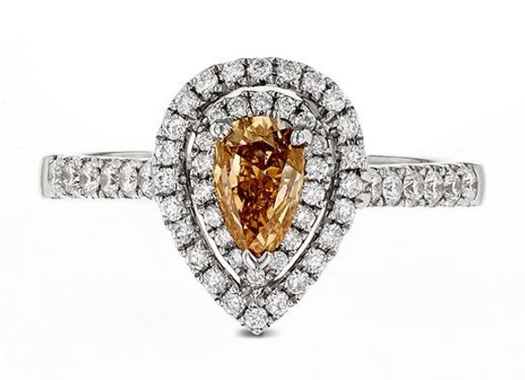 Natural Fancy Orange Brown Pear Shape Double Halo Diamond Ring