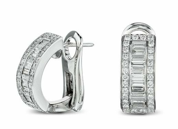 18ct White Gold Diamond Half Hoop Earrings