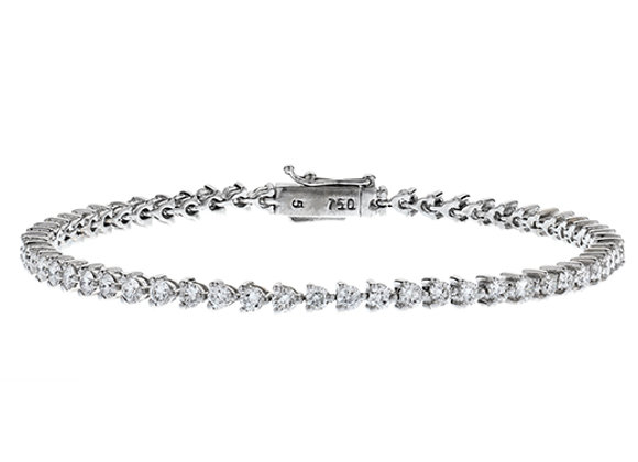 18ct White Gold 3 Claw Diamond Tennis Bracelet