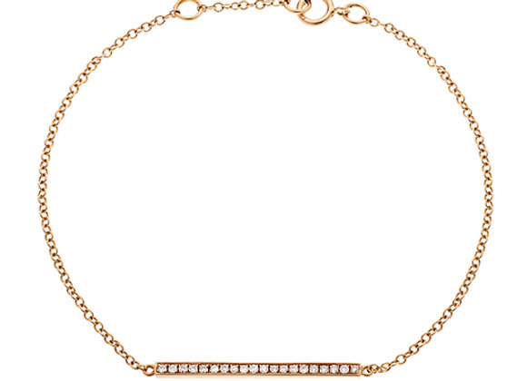 18ct Rose Gold & Diamond Line Design Chain Bracelet