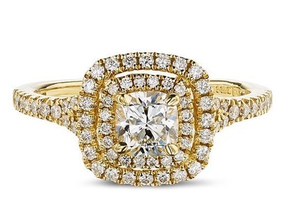 Cushion Cut Diamond Double Halo Ring