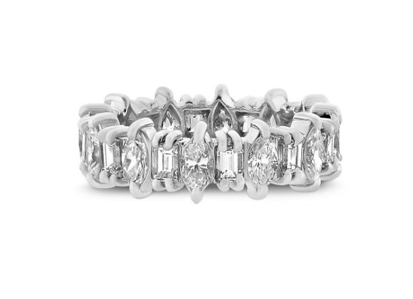 Marquise and Emerald Cut Diamond Full Eternity Ring