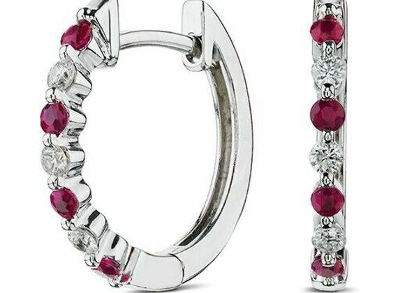Diamond and Ruby Hoop Earrings
