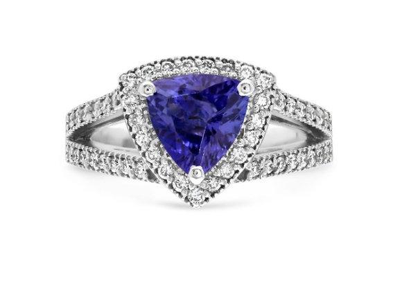 Trillion Cut Tanzanite Ring with Diamond Halo