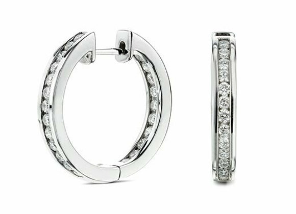 Channel Set Diamond Hoops Set in 18ct White Gold