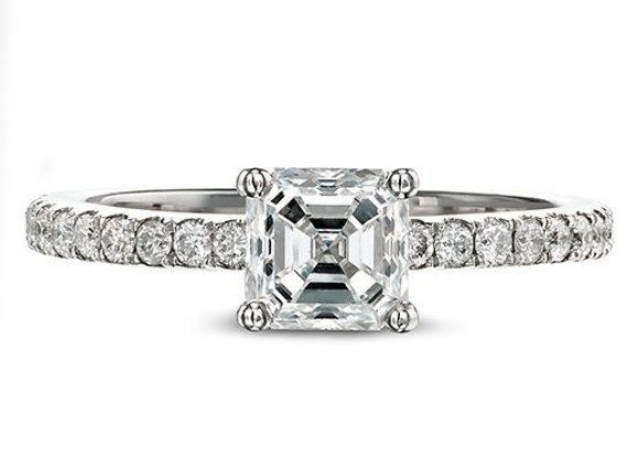 Square Modified Diamond Ring with Diamond Shoulders