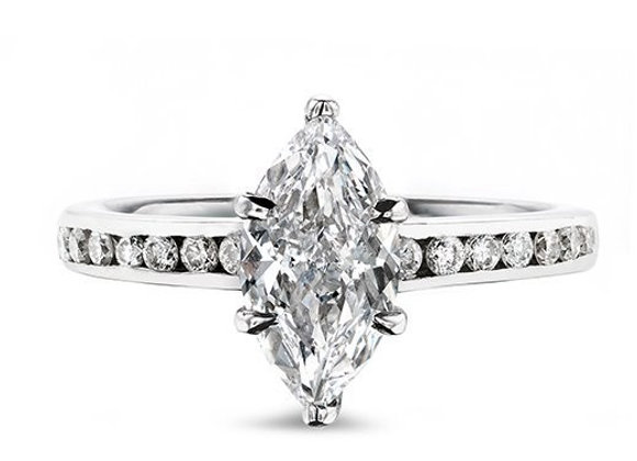 Diamond Ring with Channel Set Diamond Shoulders