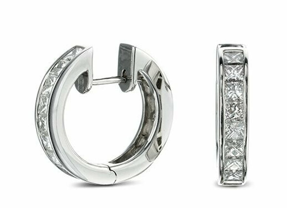 18ct White Gold and Princess Cut Diamond Hoop Earrings