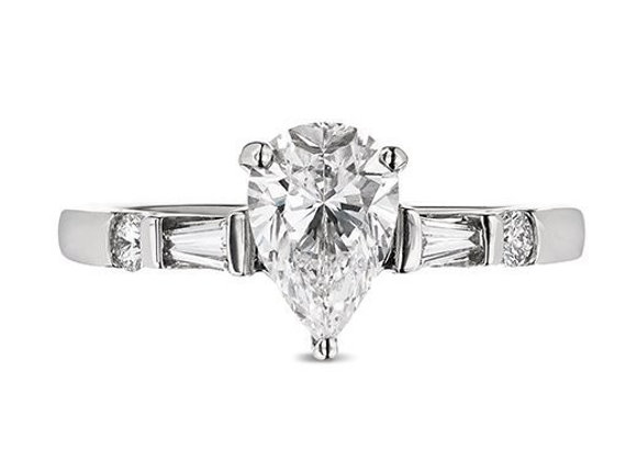 Pear Shape Diamond Ring with Tapered Baguettes
