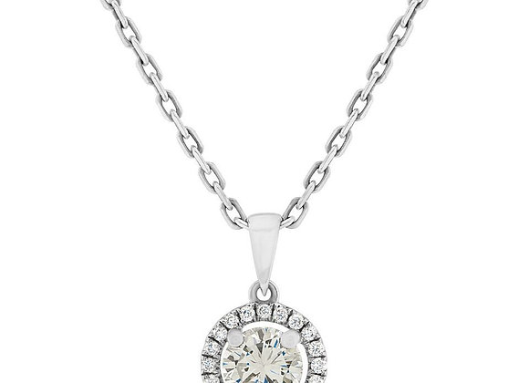 18ct White Gold Necklace with Round Cut Diamond Halo Pendant