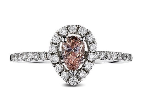 Pear Shaped Natural Fancy Pink Diamond Halo Ring