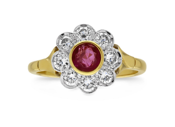 Ruby and Diamond Flower Style Ring