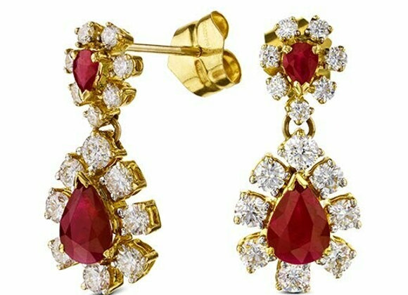 Ruby and Diamond Cluster Drop Earrings