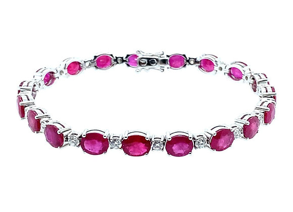 18ct White Gold, Ruby & Diamond Bracelet