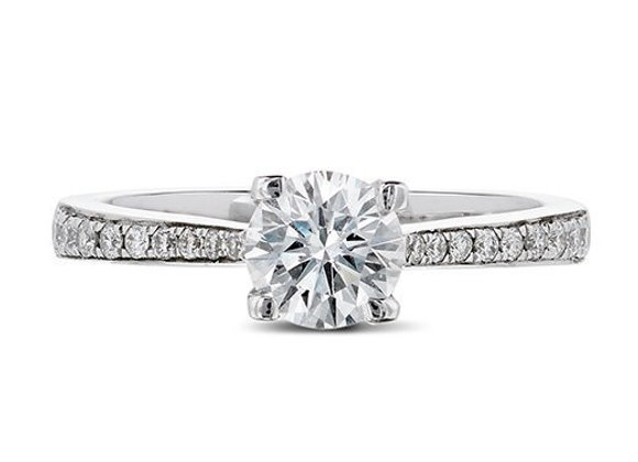 Round Cut Engagement Ring with Diamond Shoulders