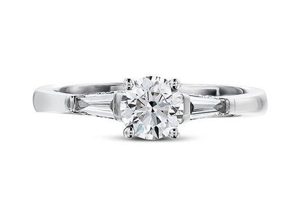 Round Cut Diamond Ring with Tapered Baguettes