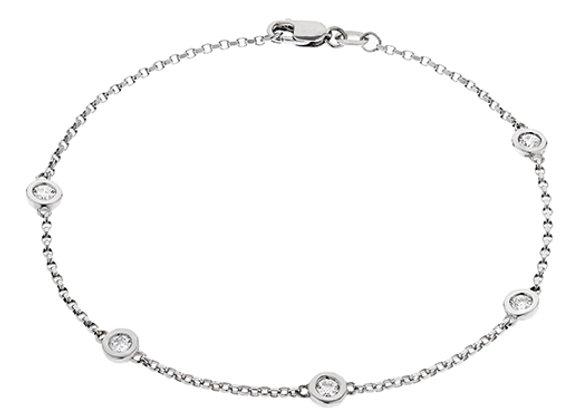 18ct White Gold & 'Floating' Diamond Bracelet
