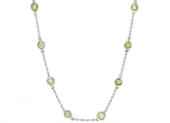 18ct White Gold Chain with 20 Pear Shape Natural Fancy Yellow Diamonds