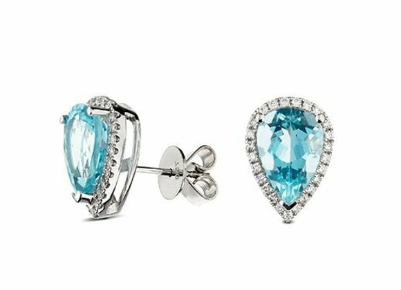 Aquamarine and Diamond Halo Studs