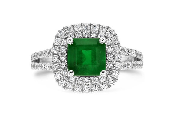 Colombian Emerald and Diamond Double Halo Ring