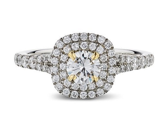 ​Round Cut Double Cushion Halo Diamond Ring