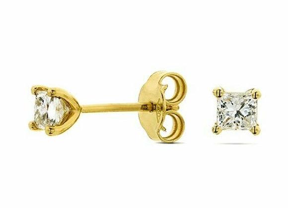 Princess Cut Diamond Studs Set in 18ct Yellow Gold