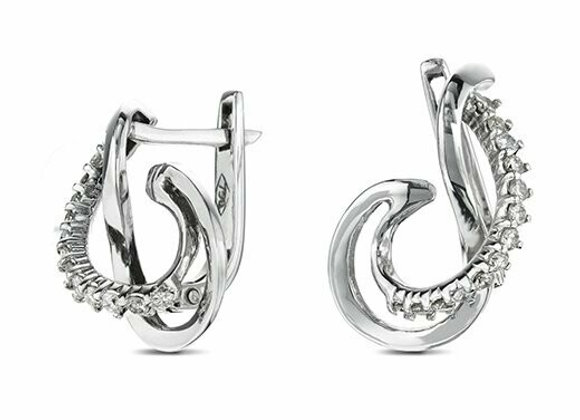 18ct White Gold and Diamond Twirl Design Earrings