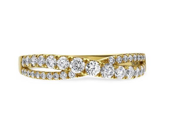 Half Eternity Cross Over Diamond Ring
