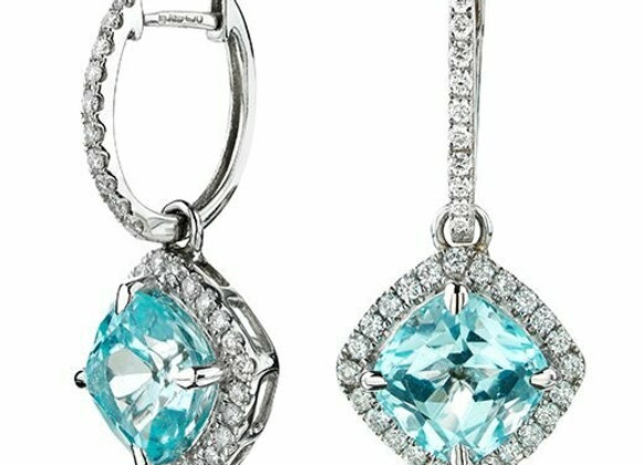 18ct White Gold, Topaz and Diamond Drop Earrings