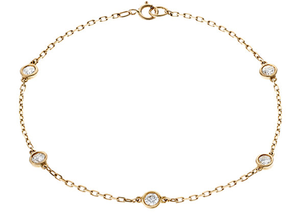 18ct Yellow Gold & 'Floating' Diamond Bracelet