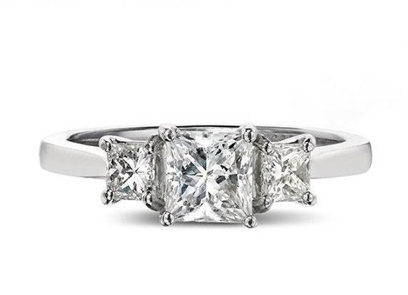 Princess Cut Trilogy Diamond Ring